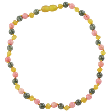 Load image into Gallery viewer, Teething necklace with Jade Coral beads amberlila-shop.myshopify.com