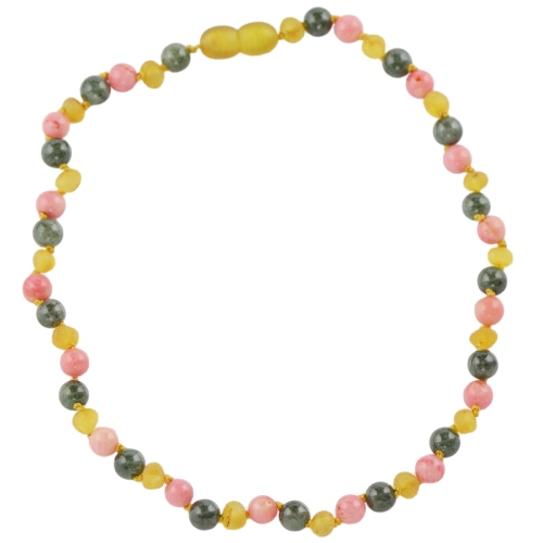 Teething necklace with Jade Coral beads amberlila-shop.myshopify.com