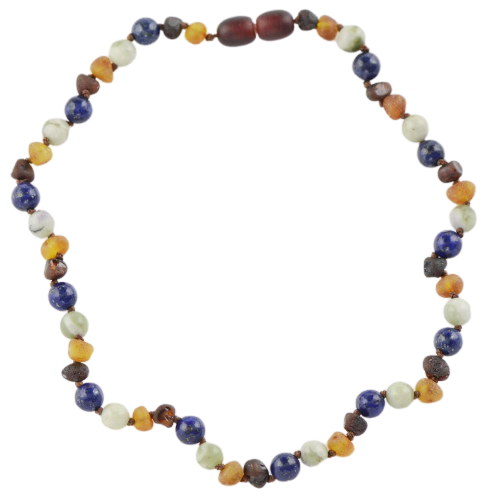 Teething necklace with Lapis lazuli Jade Beads amberlila-shop.myshopify.com