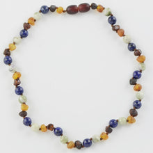 Load image into Gallery viewer, Teething necklace with Lapis lazuli Jade Beads amberlila-shop.myshopify.com