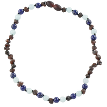 Load image into Gallery viewer, Teething necklace with Lapis lazuli Jadeite Beads amberlila-shop.myshopify.com