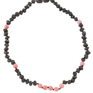 Teething necklace with coral beads amberlila-shop.myshopify.com