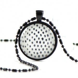 White black glass dome necklace NN05