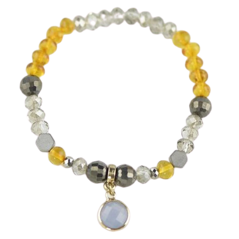 yellow amber bracelet with pendant kl64
