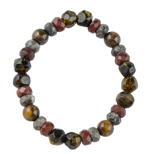 Tiger eye Sunstone Amber bracelet for men FG11
