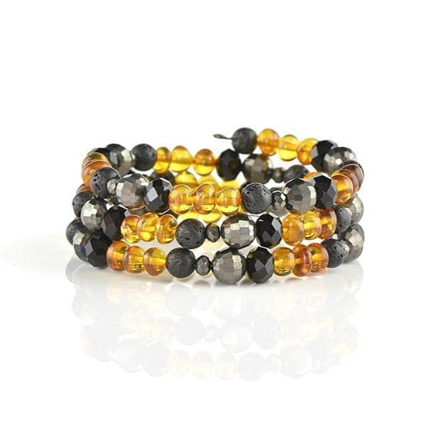Natural amber bracelet with Lava Beads amberlila-shop.myshopify.com