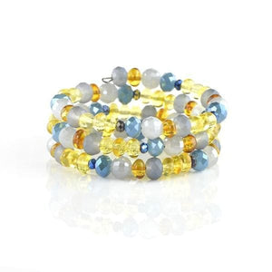 Blue Yellow Baltic amber bracelet amberlila-shop.myshopify.com