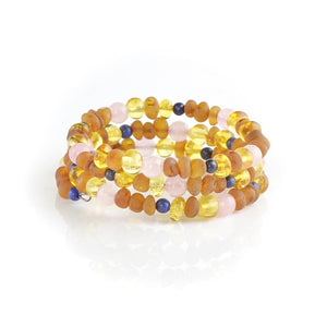 Natural amber bracelet with Quartz Lapis lazuli Beads amberlila-shop.myshopify.com