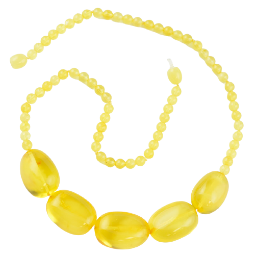 Yellow olive Baltic amber Necklace AM27