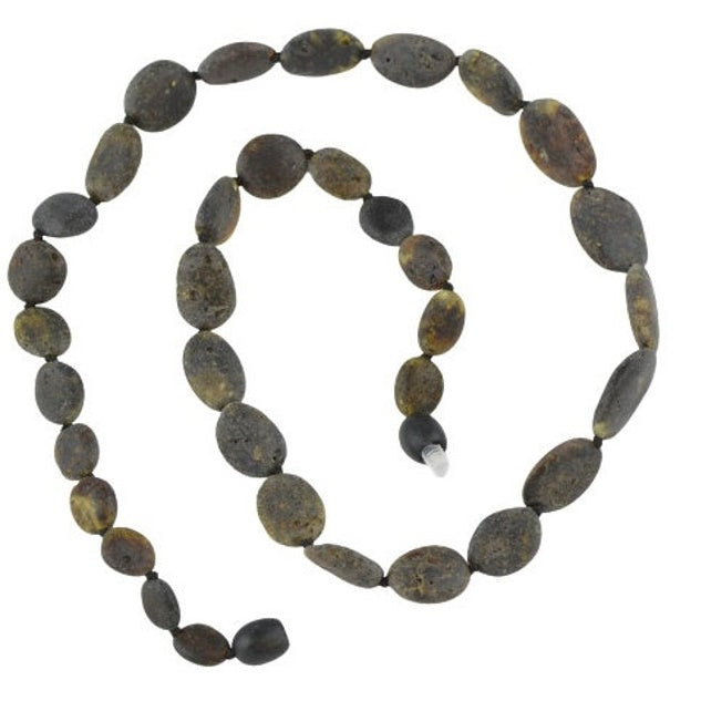 Raw Amber Necklace with olive beads NA146