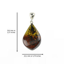 Load image into Gallery viewer, Amber pendant with sterling silver 925