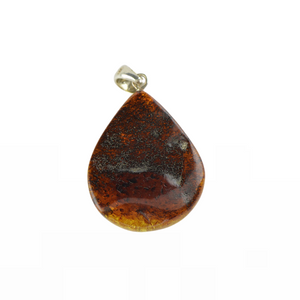 Green Baltic Amber pendant with silver