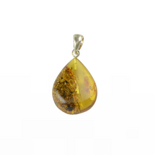 Load image into Gallery viewer, Green Baltic Amber pendant with sterling