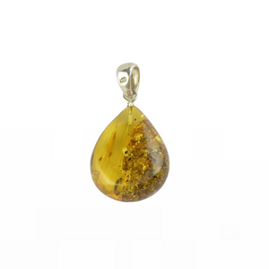 Green Baltic Amber pendant with sterling