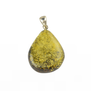 Half polished Amber pendant jewelry