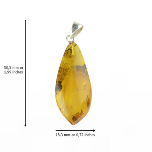 Yellow color of Baltic Amber pendant