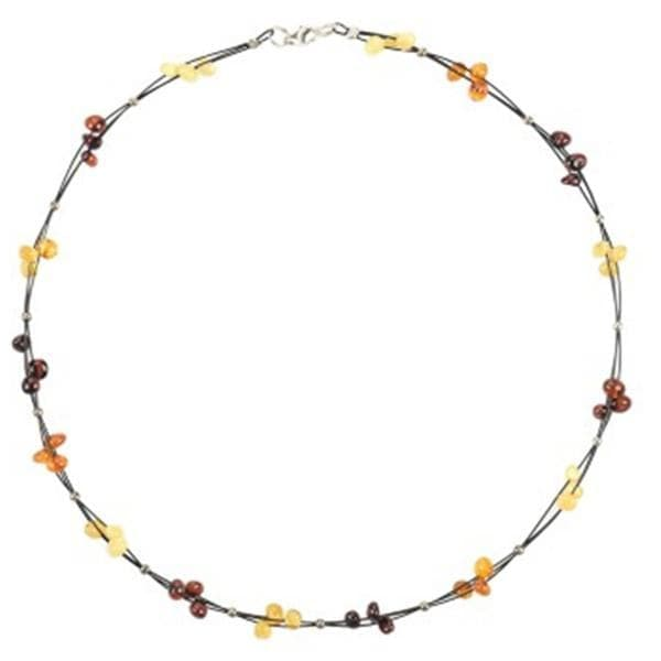 Baltic amber multicolor necklace amberlila-shop.myshopify.com