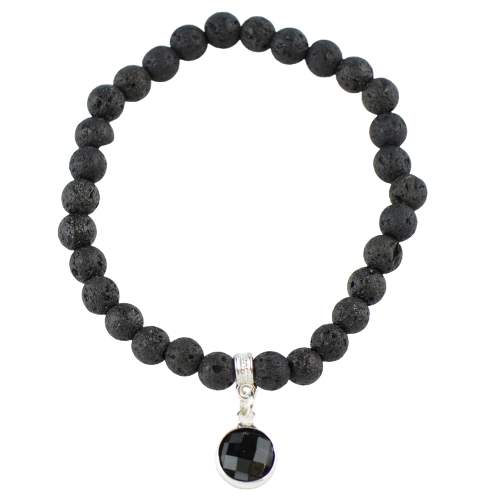 Black lava bracelet for women or girls