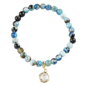 Agate bracelet with white pendant