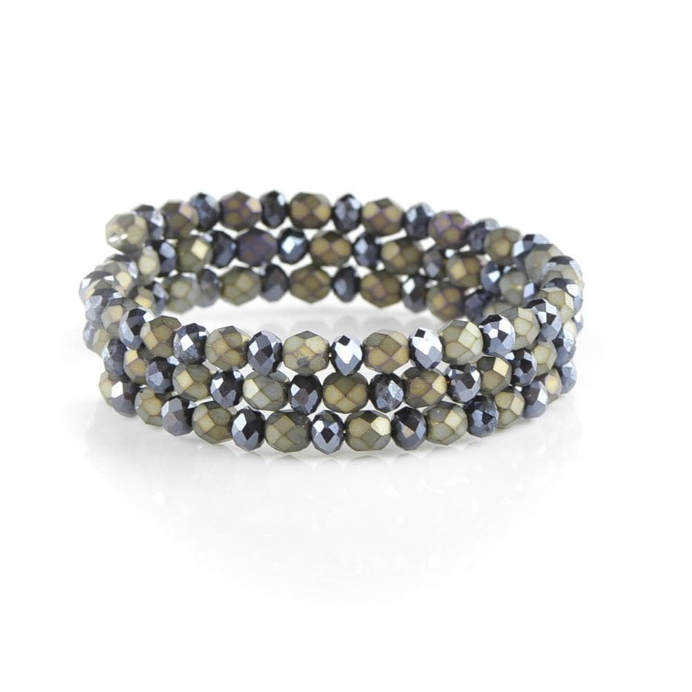 Memory wire Bracelet with Faceted Glass amberlila-shop.myshopify.com