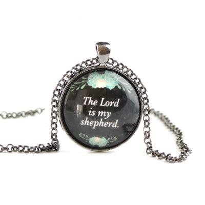 Glass dome necklace for girls with text HST43
