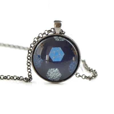 Blue pendant with glass printed photo HST59