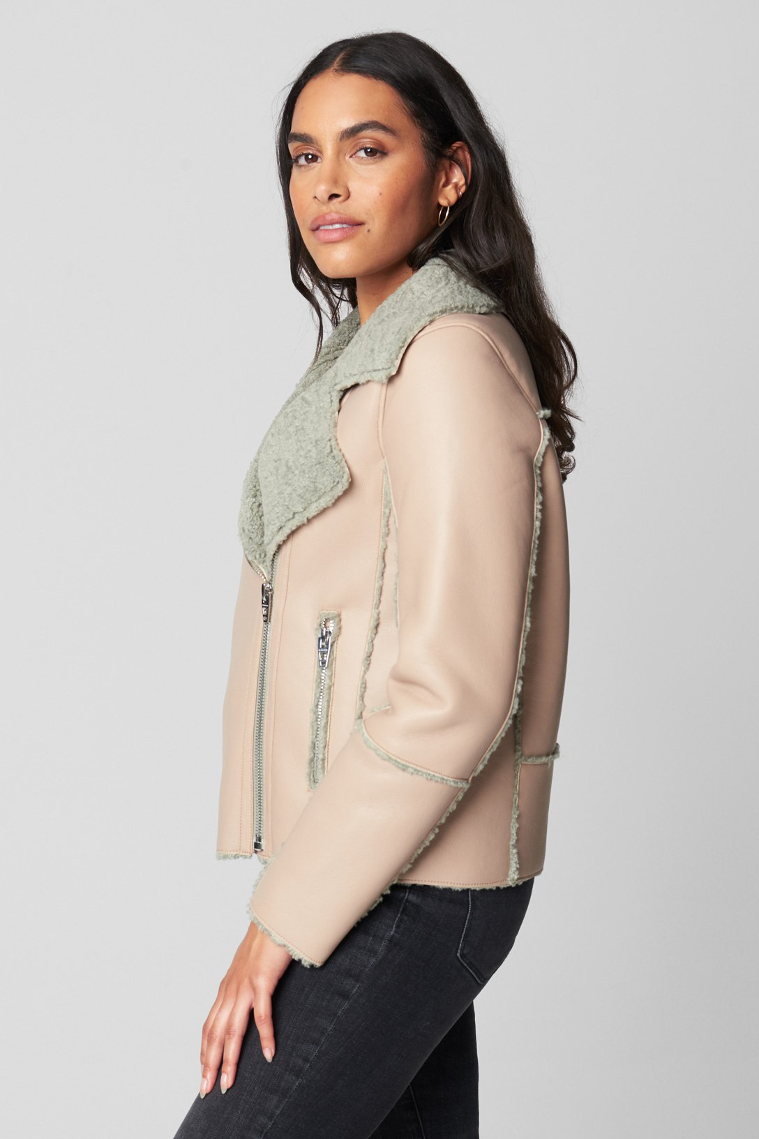 Blank NYC PU AND FAUX SHERPA BONDED MOTO JACKET