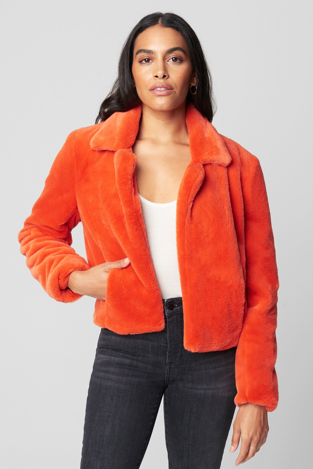 BLANKNYC Womens Faux Sherpa Color Block Jacket Outerwear