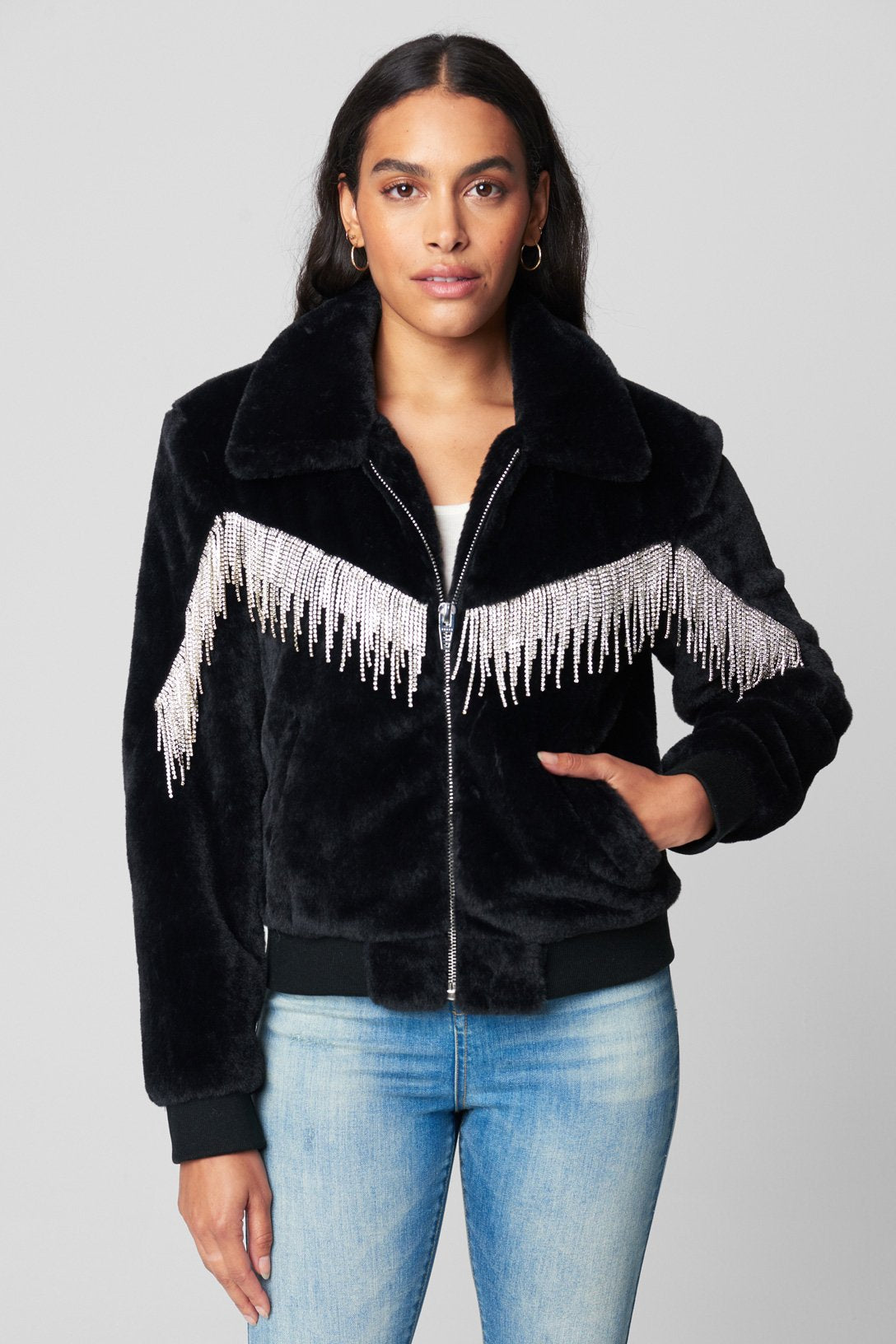 Blank NYC FAUX FUR BOMBER WITH RHINESTONE FRINGE