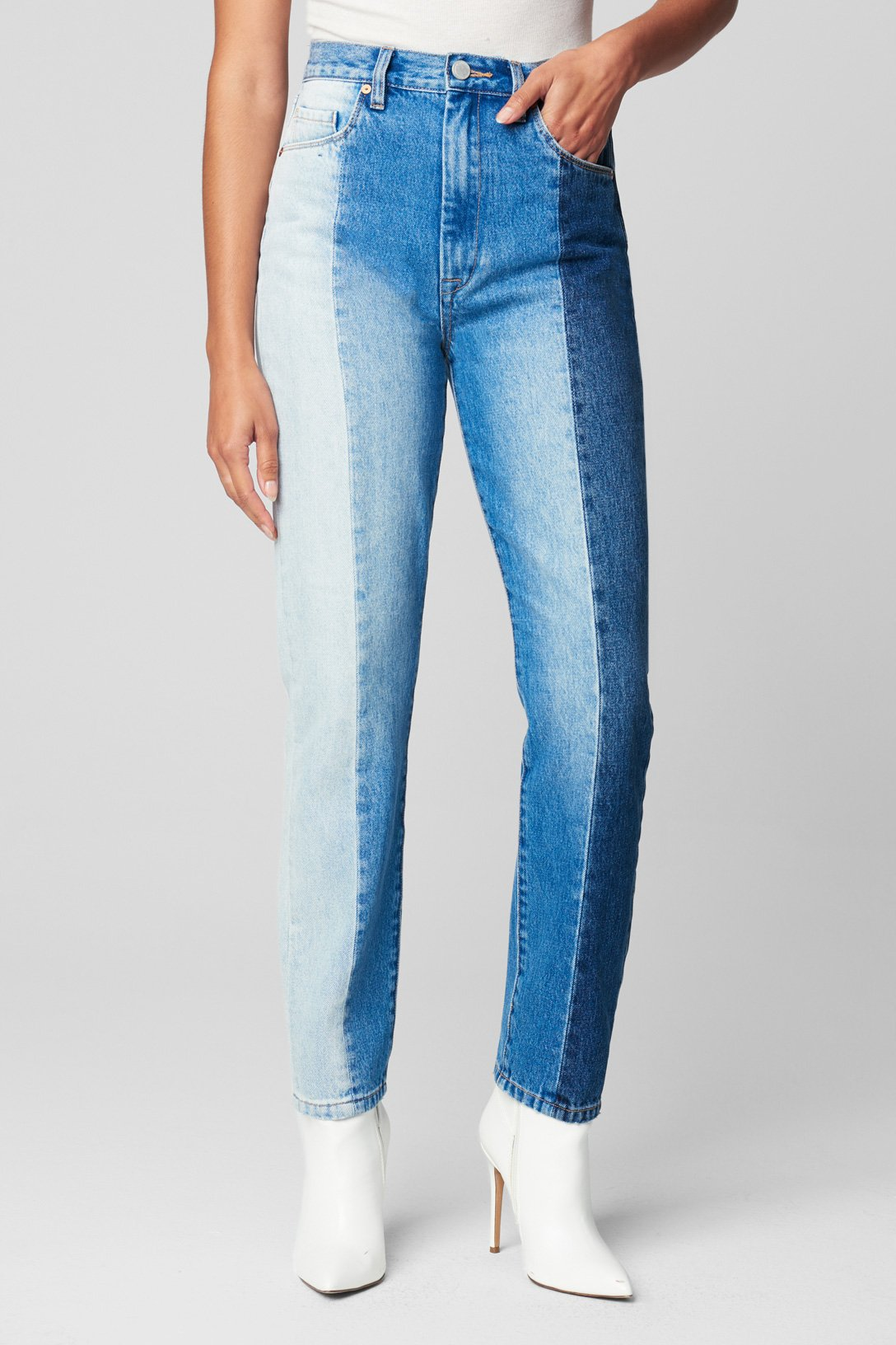 Blank NYC PATCHWORK ULTRA HIGH RISE SKINNY JEANS
