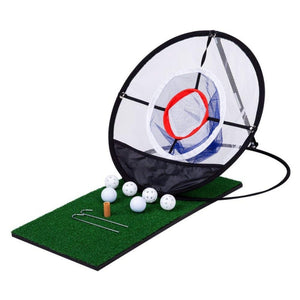 Indoor Outdoor Chipping Pitching Cages Mats Practice Easy Net Golf Training Aids Metal + Net