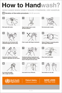 Handwash Guide - Wall Poster (World Health Organisation Guidelines)