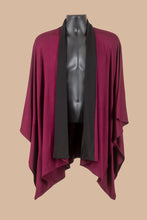 Load image into Gallery viewer, Kimono Jacket in 2 Tone Burgundy (black collar)