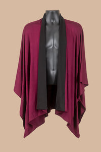 Kimono Jacket in 2 Tone Burgundy (black collar)