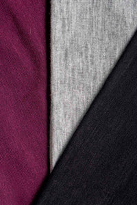 Crown Multi-Pack: 3 Multi Use Headbands/Face Masks includes Burgundy, Light Gray, Pitch Black
