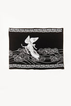 Load image into Gallery viewer, Angeles Print by Deux Goods - white ink on black fabric - another angle of the artwork