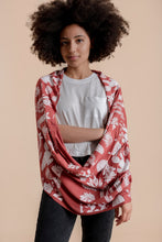 Load image into Gallery viewer, Infinity Scarf in Brick Red with Desert Print in White