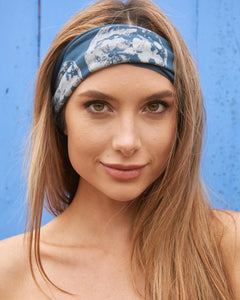 Moon Phases Titanium Blue Multi Use Headband/Mask