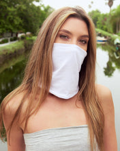 Load image into Gallery viewer, Combo - Light Gray Tube Top with Double Layer Fishes White Multi Use Headband/Mask