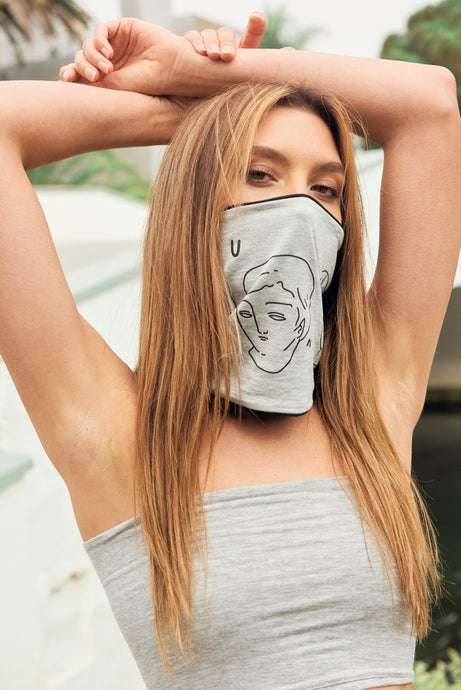 Combo - Light Gray Tube Top with Double Layer Juntos Multi Use Headband/Mask