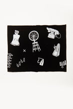 Load image into Gallery viewer, Dada by Deux Goods - black fabric with white print - a variety of symbols and text alluding to the Dada avante-garde art movement.