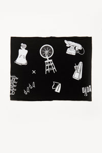 Dada by Deux Goods - black fabric with white print - a variety of symbols and text alluding to the Dada avante-garde art movement.