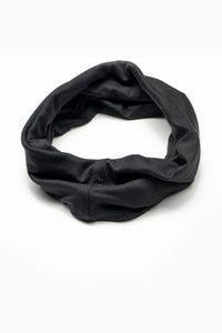 Double Layer Multi Use Headband/Face Mask in Pitch Black Monochrome