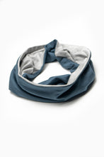 Load image into Gallery viewer, Double Layer Multi Use Headband/Face Mask in Titanium Blue & Light Gray