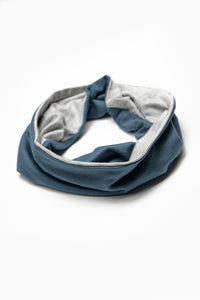 Double Layer Multi Use Headband/Face Mask in Titanium Blue & Light Gray