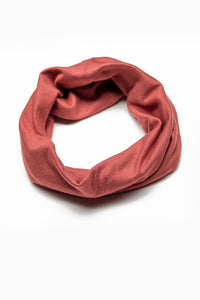 Double Layer Multi Use Headband/Face Mask in Brick Red Monochrome