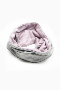 Double Layer Multi Use Headband/Face Mask in Light Gray & Lavender