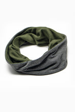 Load image into Gallery viewer, Double Layer Multi Use Headband/Face Mask in Olive Green & Stone Gray