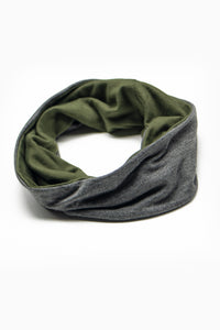 Double Layer Multi Use Headband/Face Mask in Olive Green & Stone Gray