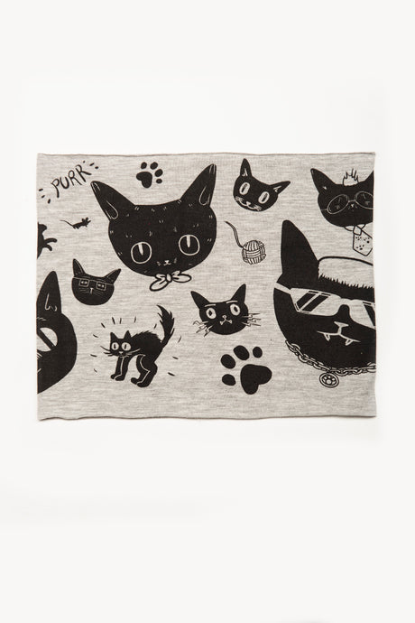 Gatos by Deux Goods - black ink on light gray fabric - seamless design of funky cats